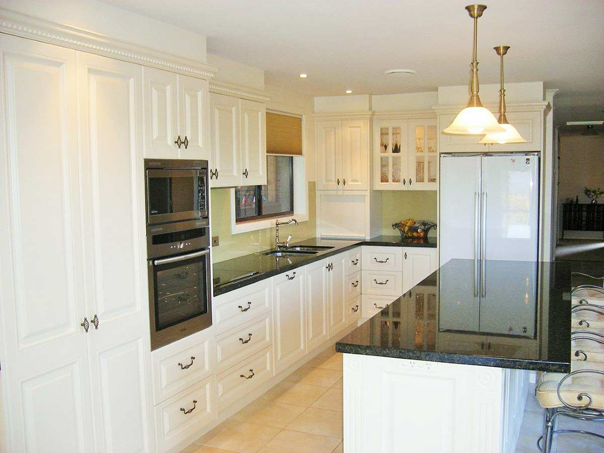 long view of warm kitchen