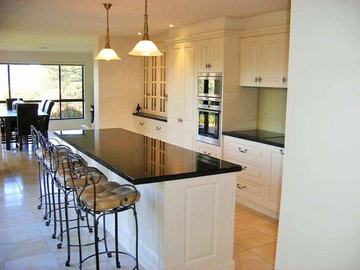 warmly-lit kitchen
