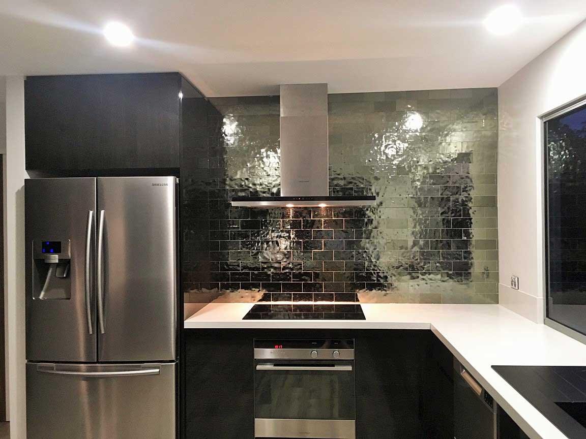 black-accented kitchen