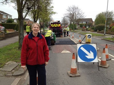 Repairing potholes in Tyne Crescent