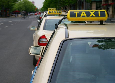 Taxi cabs on the road