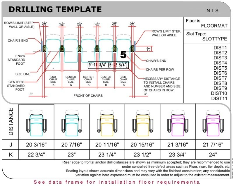 Drilling template for Concorde Rocker theater seat