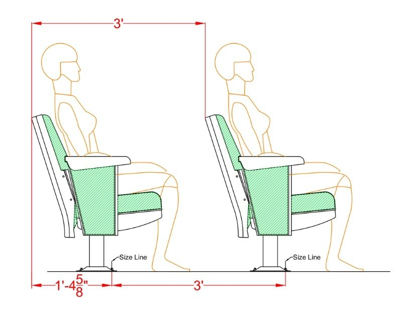 Rows spacing for Convention theater seat