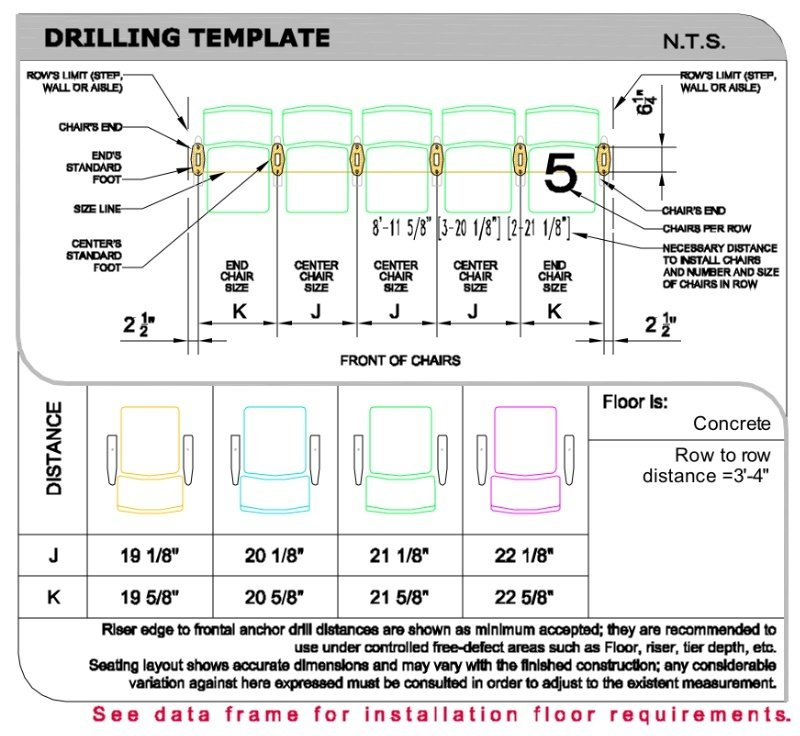 Drilling template for Convention theater seat
