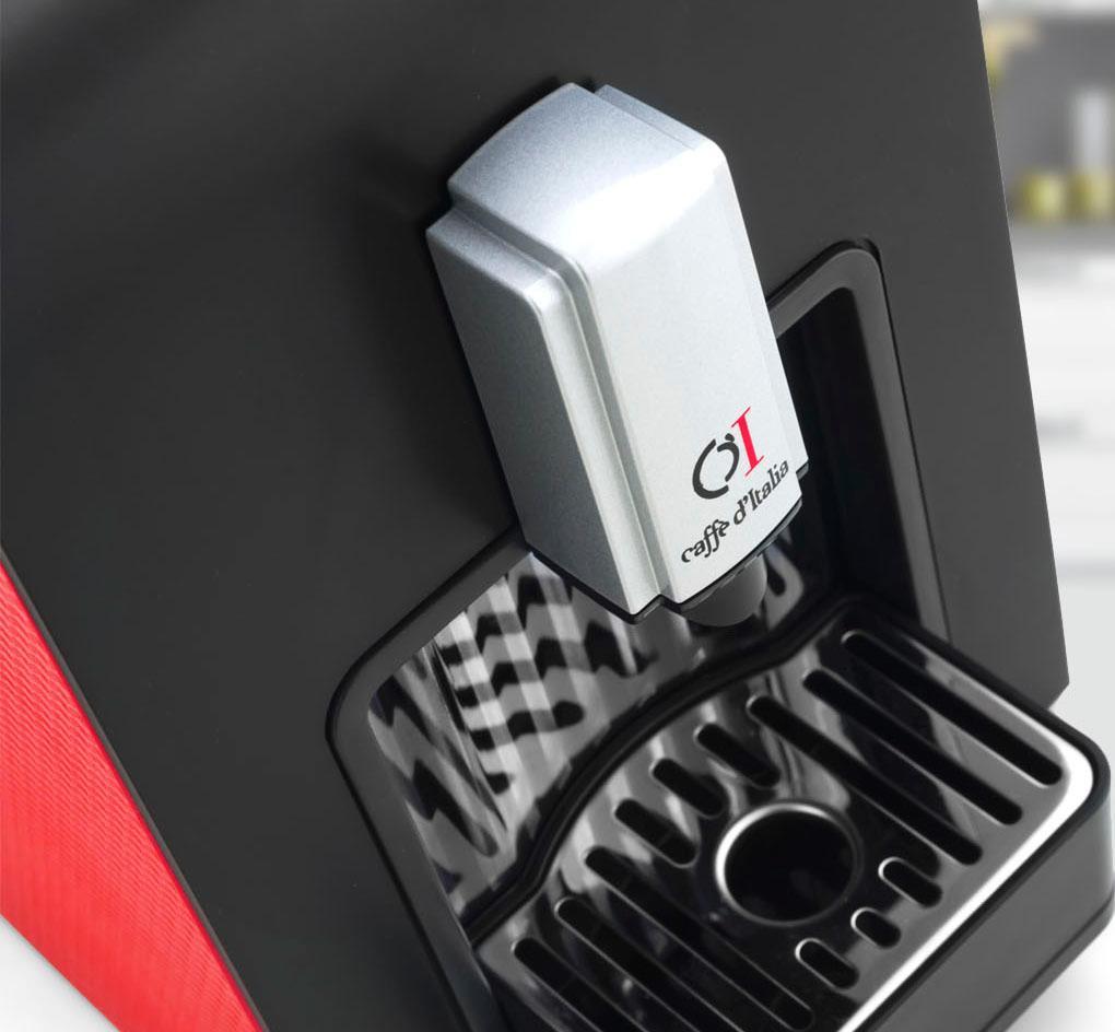 macchina caffè casa CHIKKO colori nero-silver e rosso