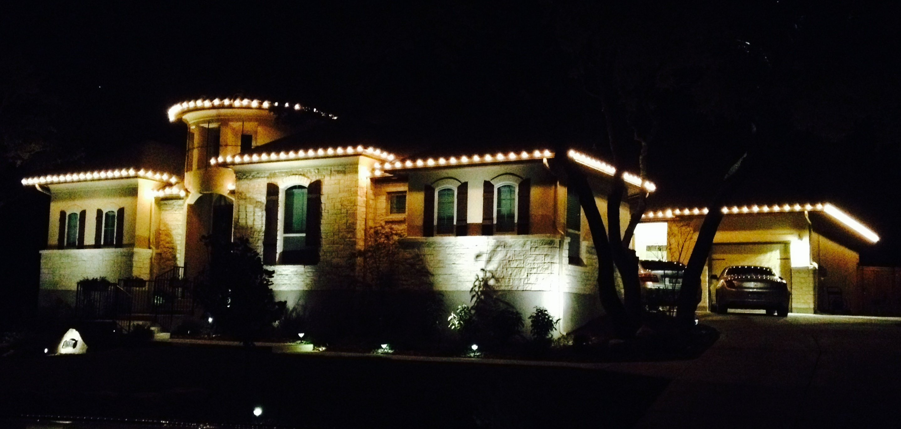 San Antonio Home Outdoor Lighting at Night
