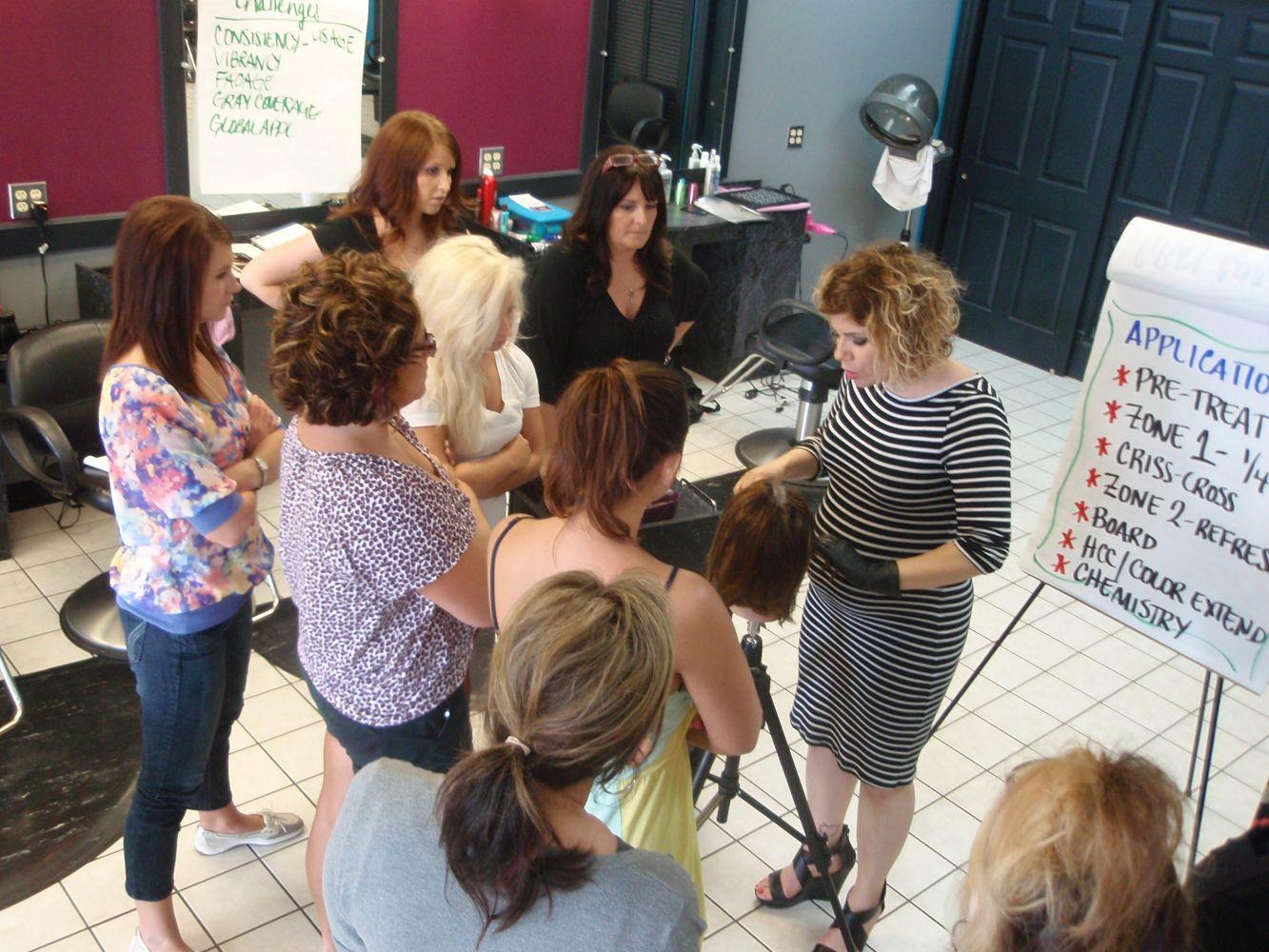 A stylist educates other stylists