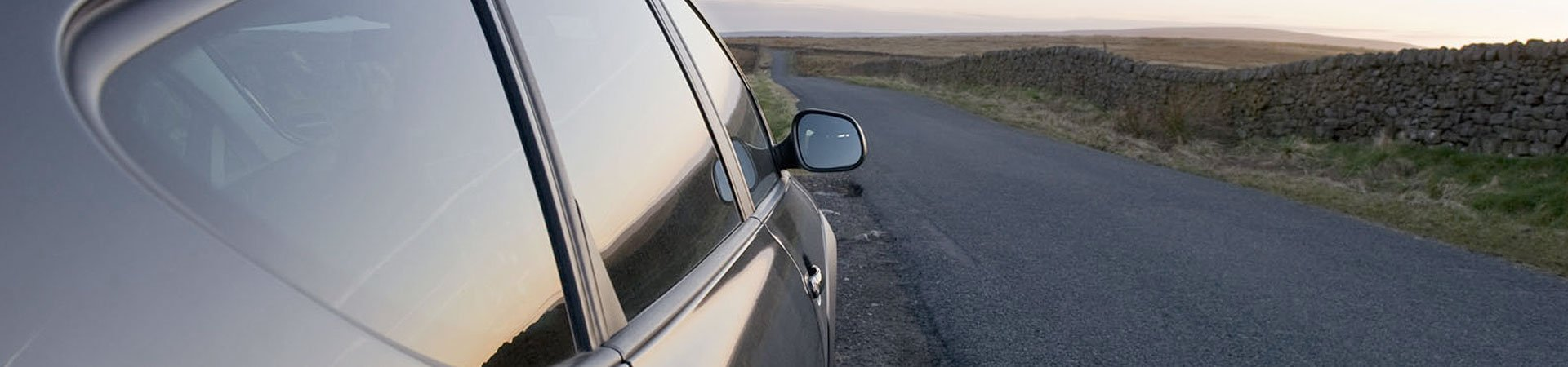view of the car mirror