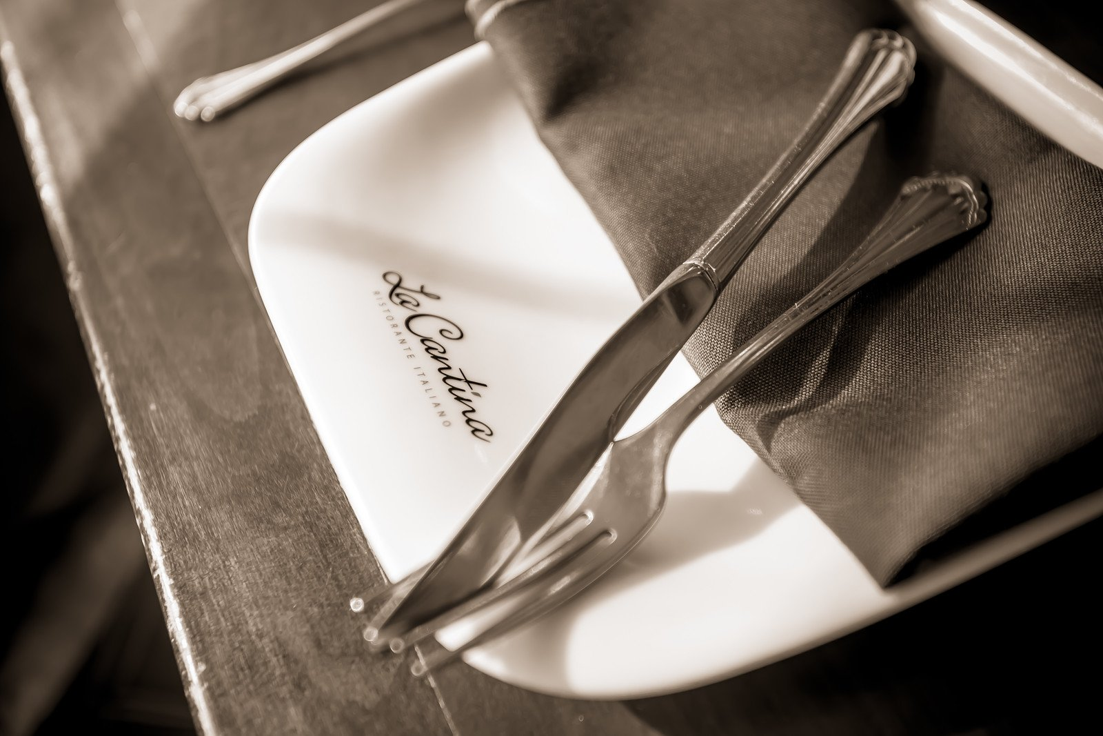 Place setting, Italian fine dining style at 60 Walnut Street, downtown