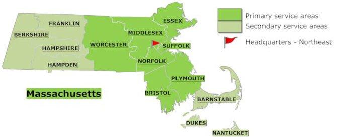 Massachusetts service areas