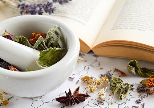 Mortaio e pestello con erbe naturali e libro di botanica
