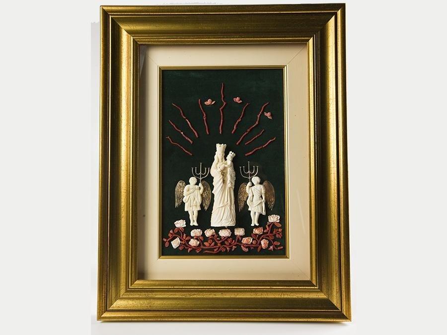 quadro raffigurante la madonna di Trapani in avorio,oro,argento