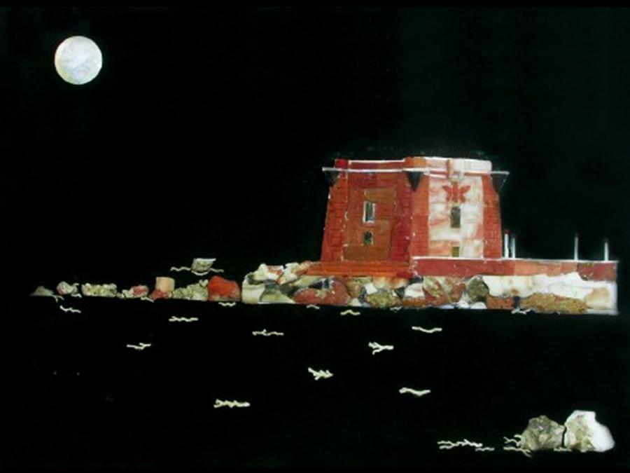 quadro raffigurante la torre di Ligny di trapani in notturno