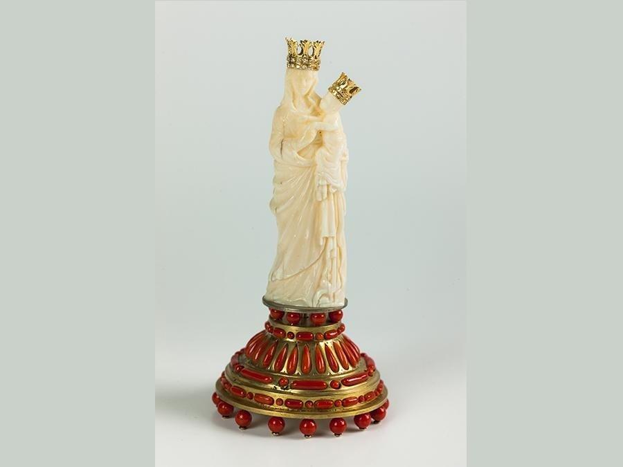 Madonna di Trapani in avorio, oro, brillanti, argento e corallo mediterraneo - cm 13 - 2012