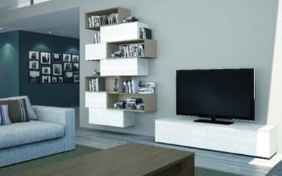 mobile tv sospeso colore bianco e grigio