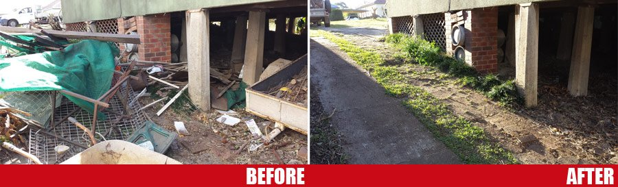 before and after of rubbish under a building