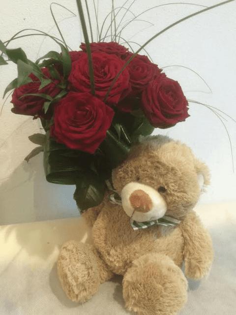 Rose Rosse con Orsetto Peluche