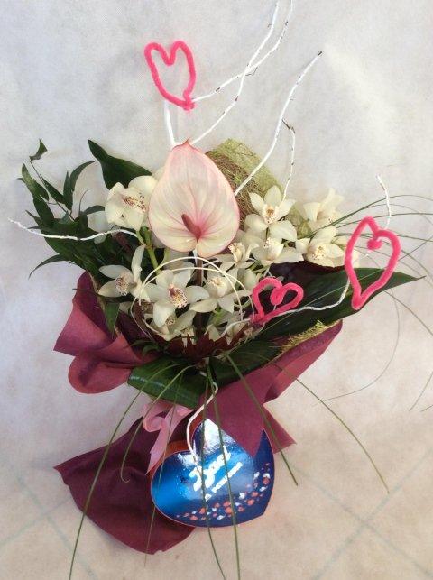 Bouquet Orchidee, Anthurium e Cuore di Baci Perugina
