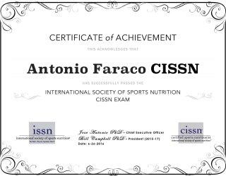 Certificato di esame della società internazionale della nutrizione sportiva