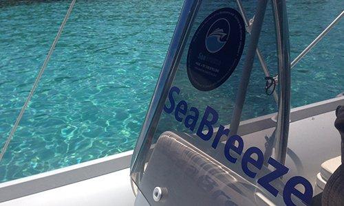 logo Sea Breeze su un vetro