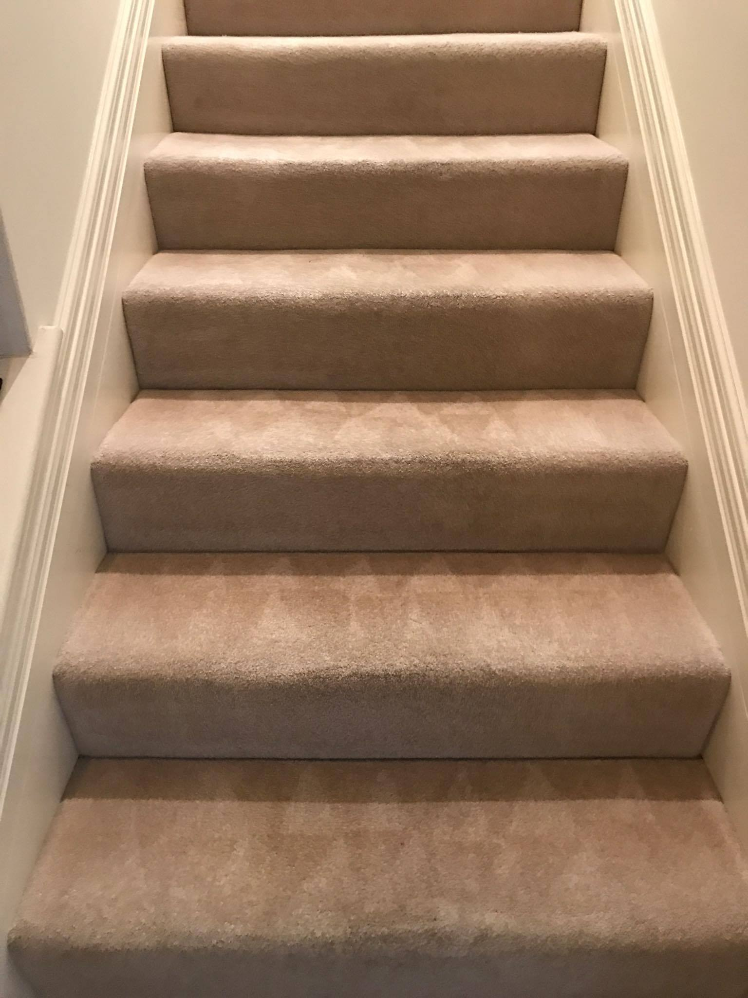View of stairway carpet after  cleaning