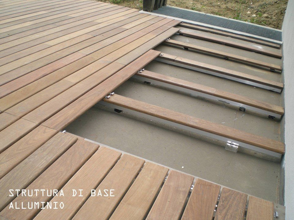 pavimento con struttura di base in alluminio