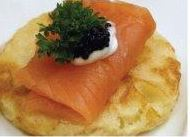 Party food smoked salmon and creme