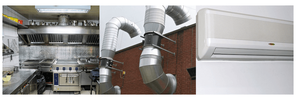 Canopy for a commercial system, duct and air conditioning system