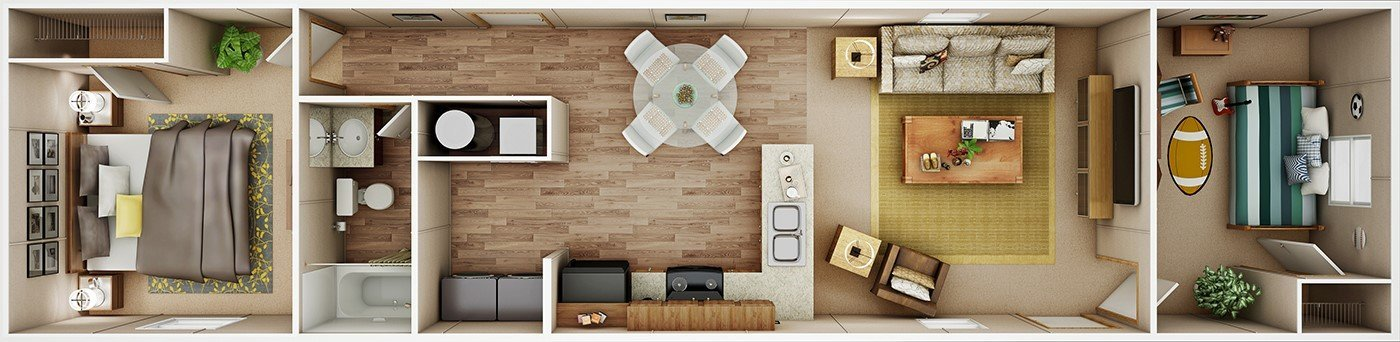 The Bliss mobile home model by Tru Homes availalbe for delivery in San Antonio Texas
