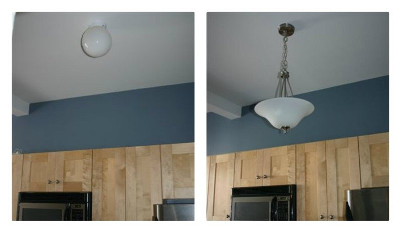 New light fixtures dramatically improve the look and feel of a manufactured home.