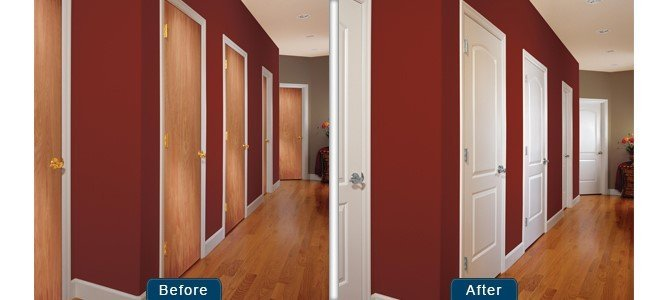 The interior doors of a new mobile home can be switched to give the interior of the home a modern upgrade.