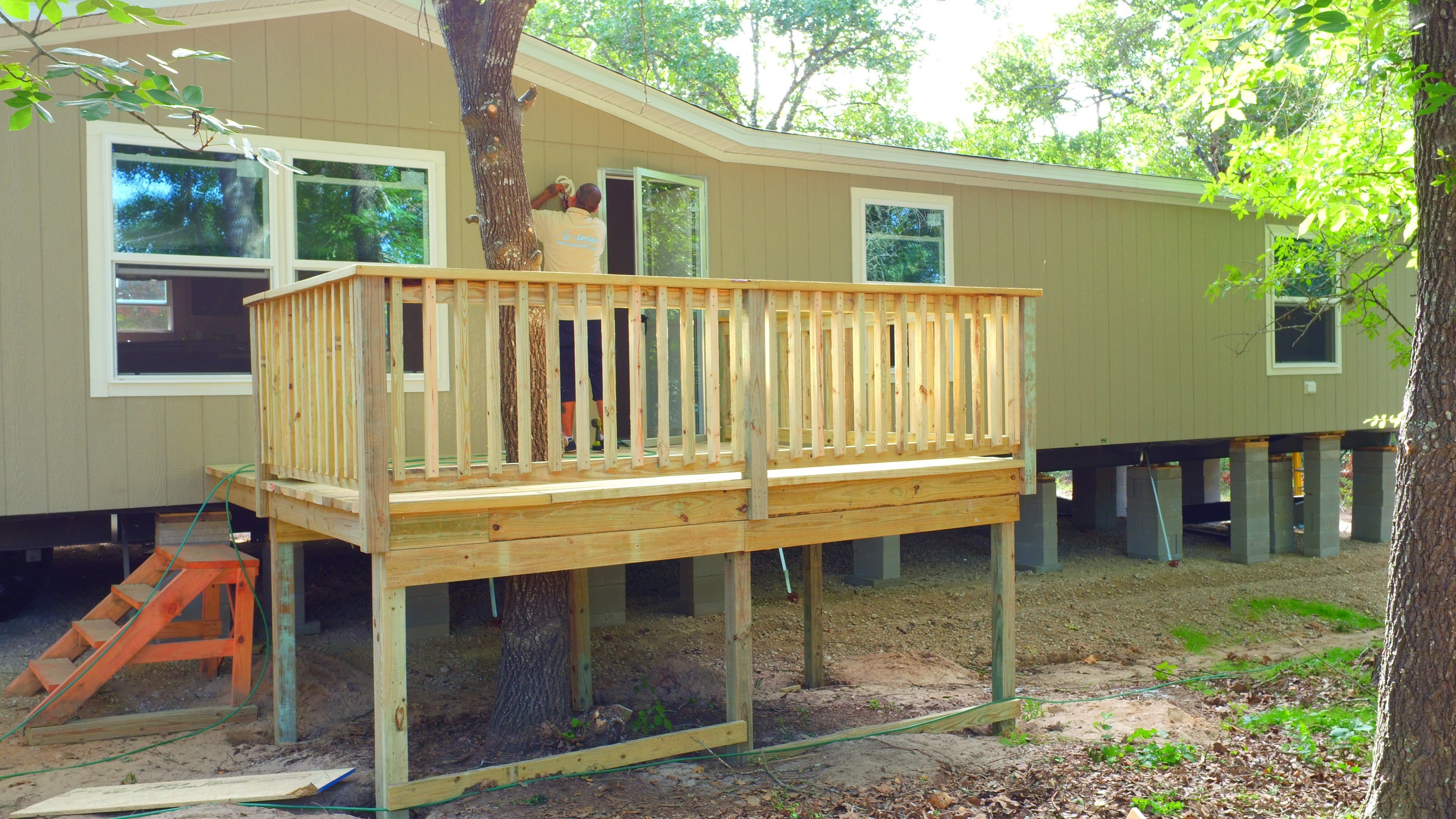 A deck or porch is a great way to increase the value of a new mobile or manufactured home.