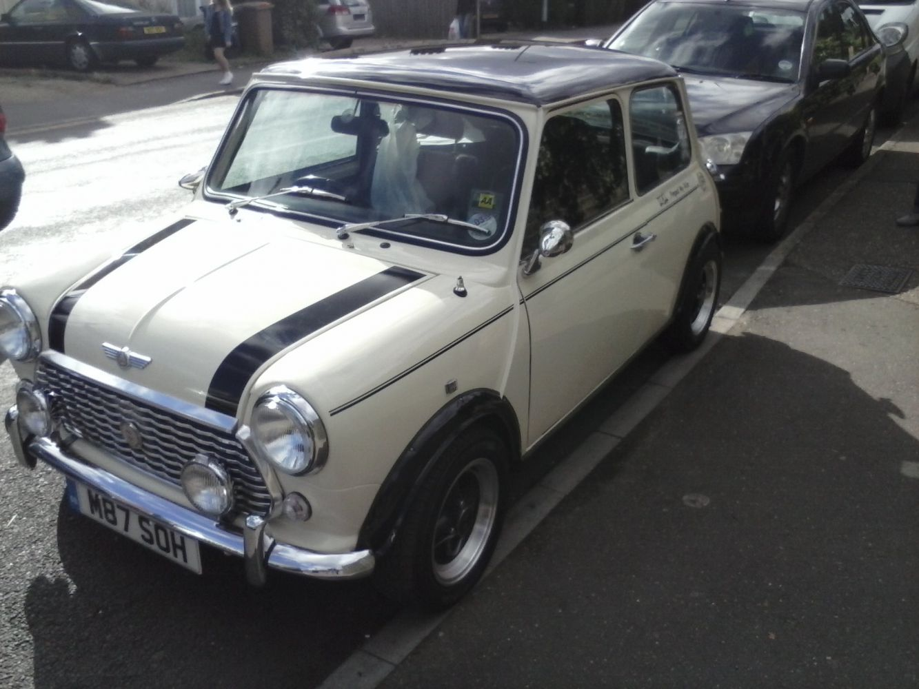 White mini car at Mini restorations at our  workshop in Peterborough, PE