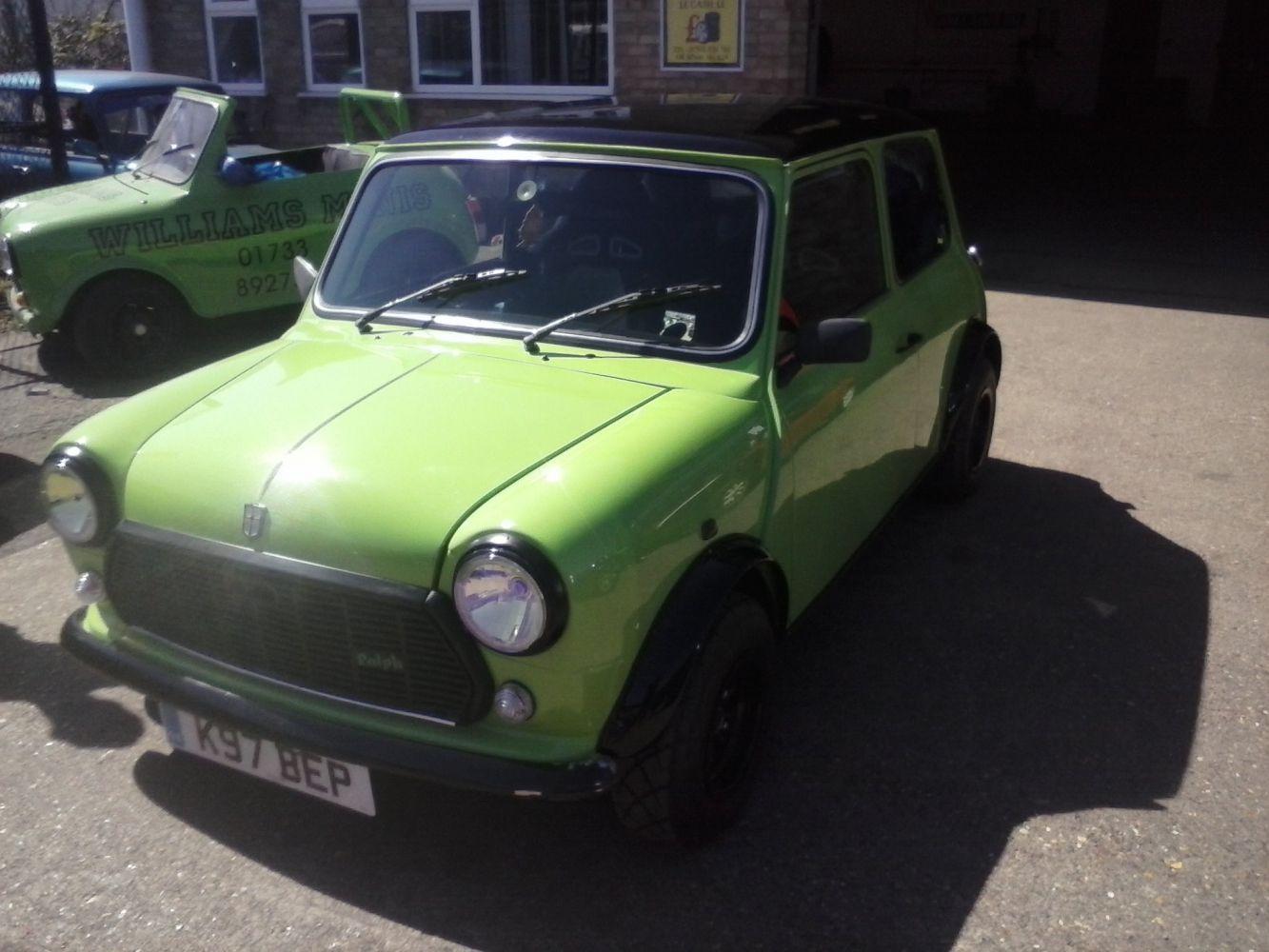 Green mini Mini restorations at workshop in Peterborough, PE