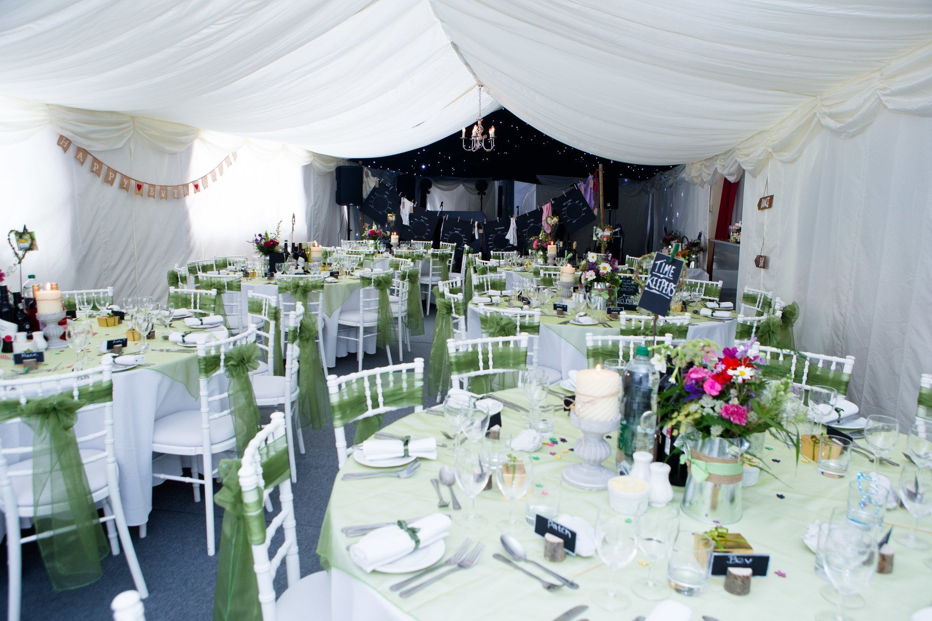 village hall wedding venue into marquee