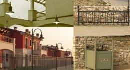 porta rifiuti, illuminazione, recinzioni
