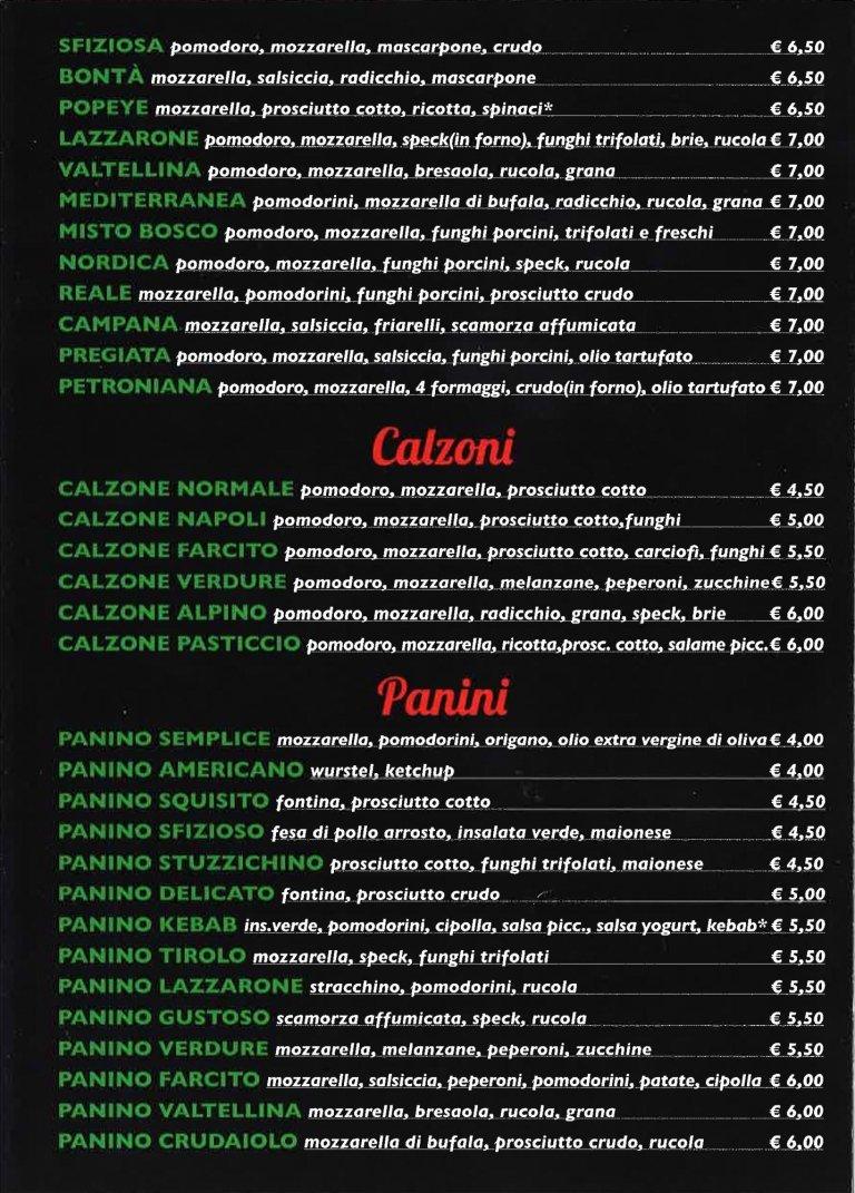 menu delle pizze il Lazzarone
