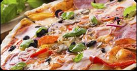 Pizza alle verdure e cotto