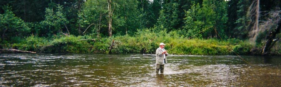 Burt Mason fishing in the Alaskan rivers