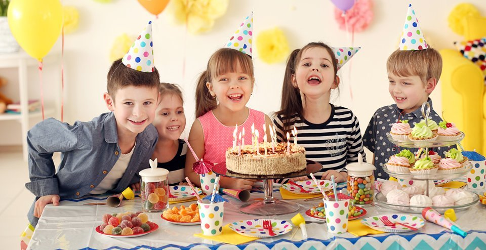 Children party with party decorations