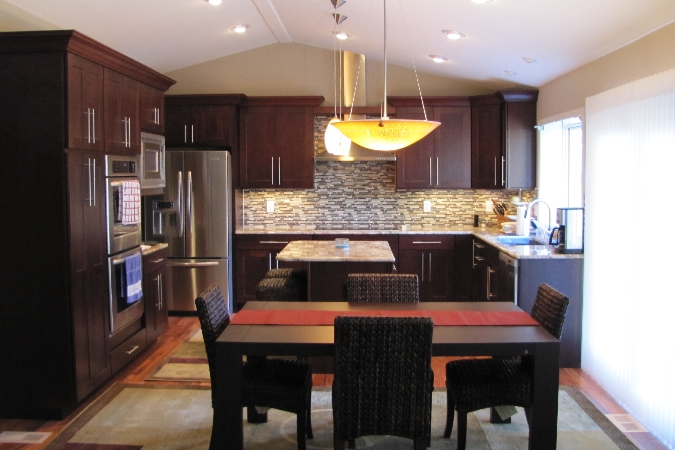 modern dining room with dark brown furniture