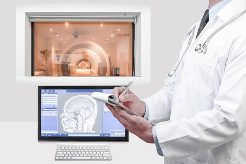 MRI of the brain on screen for diagnosis in operation room