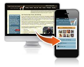 Mobile website synchronized with desktop website