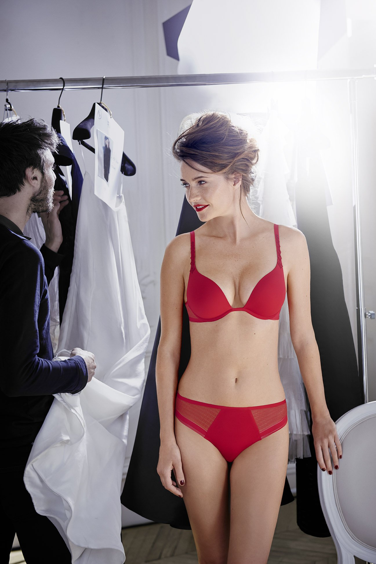 red color push-up bra with matching panties