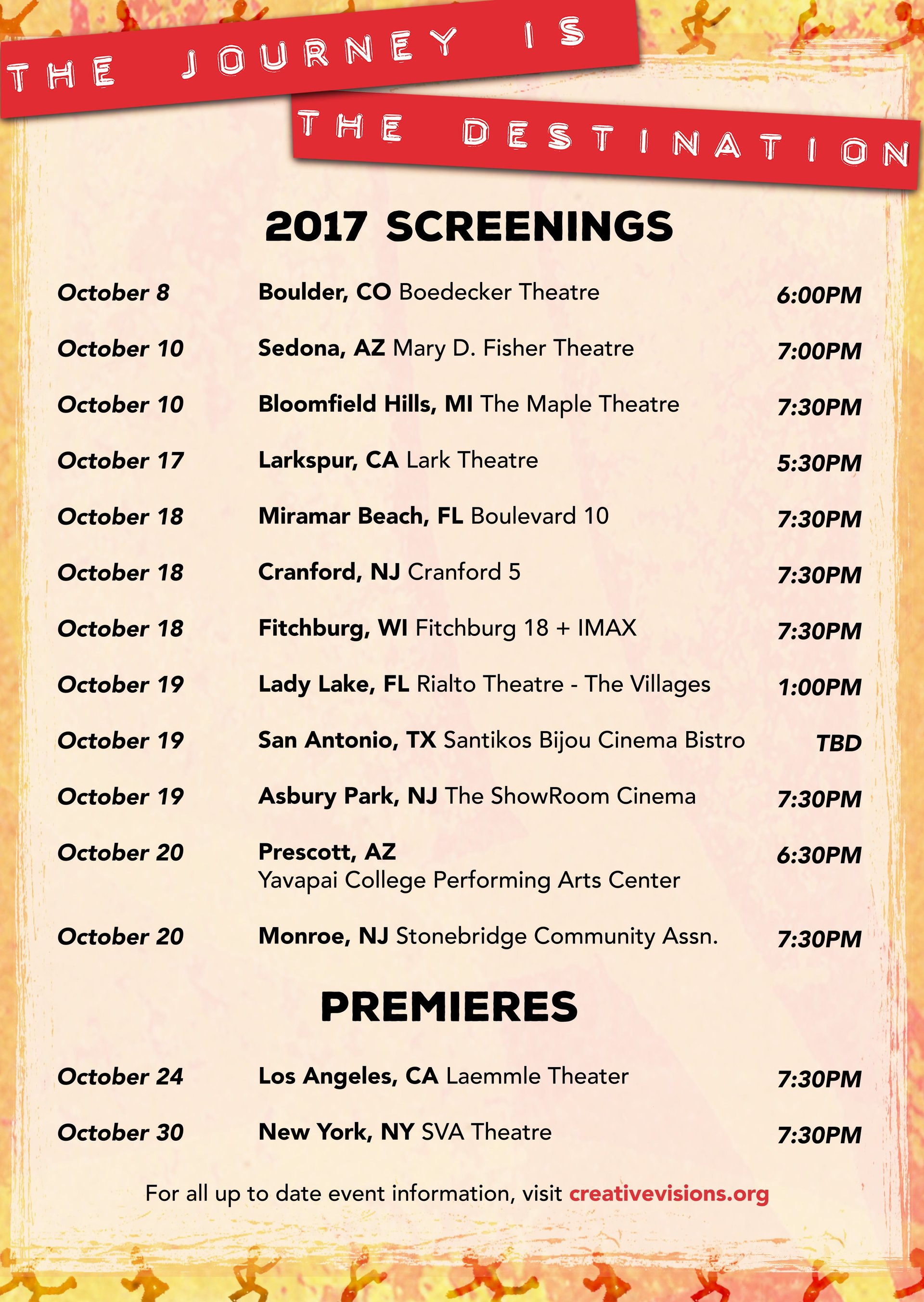 The Journey is the Destination Screenings List - October