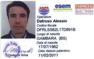 certificazione Alessio Dafroso