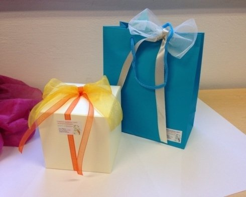 box and gift bag with Easter sweets