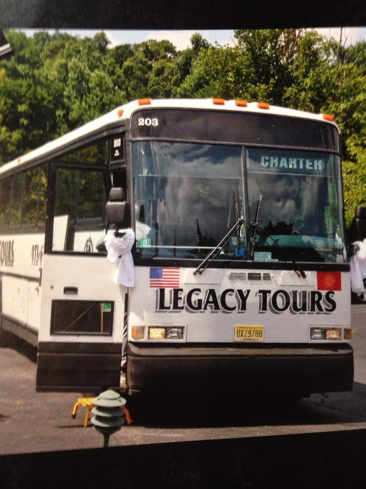 Close up view of parked tour buses