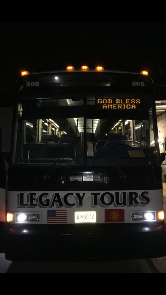 Tour bus in the parking lot
