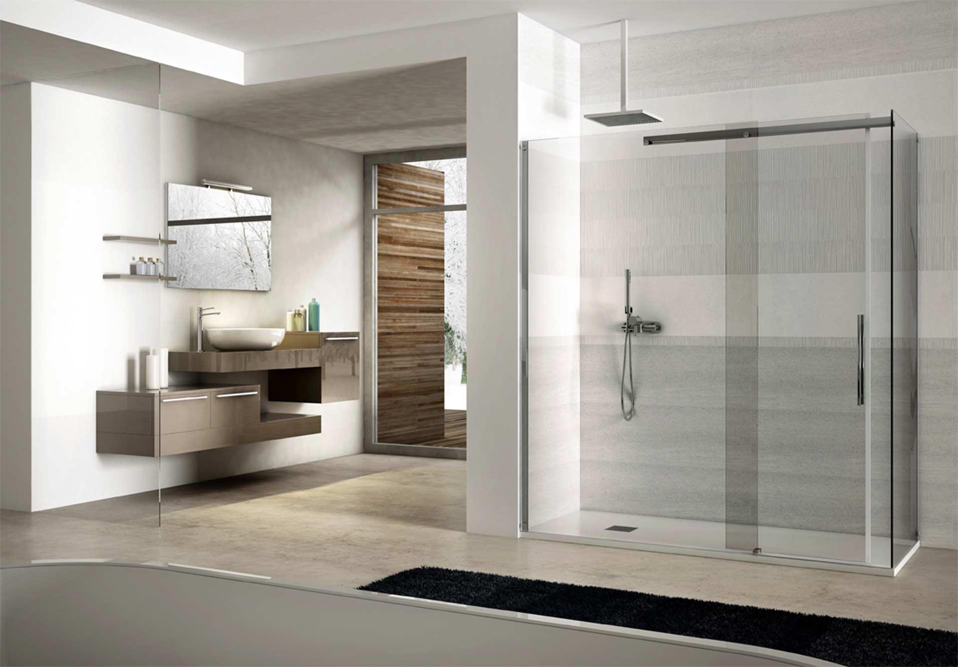 box doccia interno in un grande bagno moderno